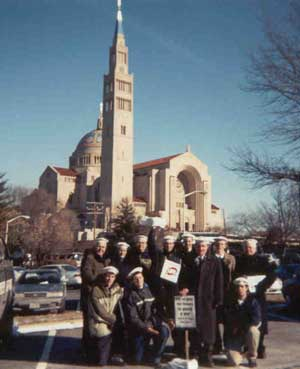 group of Pilgrims of Saint Michael in front of the National Shrine of the Immaculate Conception