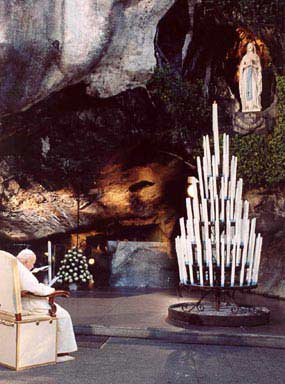 John Paul II in the grotto of Lourdes
