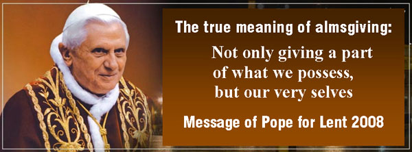 Pope Benedict XVI 2008 lent message