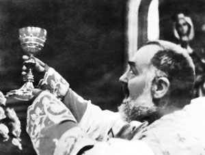 Padre Pio during the elevation of the Ciborium