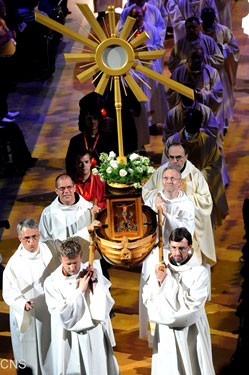 the Eucharist was placed in a monstrance