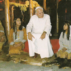 John Paul II Talking with native people in Midland
