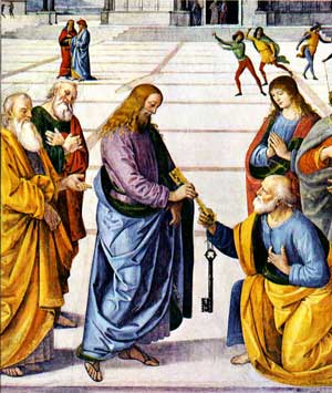 Jesus gives to Peter the keys of the Kingdom of Heaven
