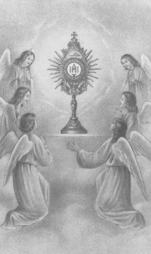 Angels adoring the Eucharist
