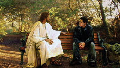 Jesus with a young man