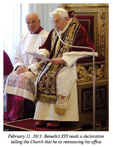 Pope Benedict is renouncing his office
