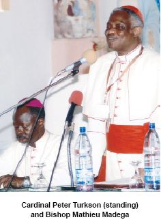 Cardinal Turkson and bishop Mathieu Madega