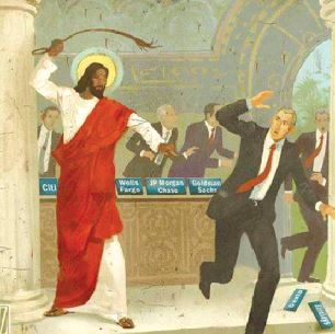 Jesus chases money changers