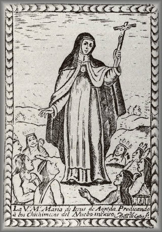 Engraving of Maria of Agreda