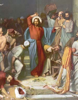 Our Lord drives the money changers out of the Temple